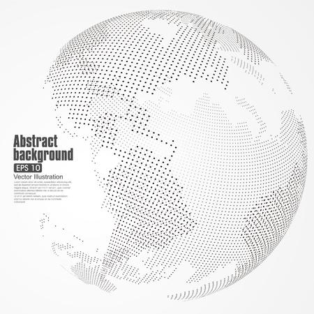 alrededor del mundo: Tridimensional resumen planeta, Dot mapa del mundo que consiste en, que representa la conexión mundial, Red global, significado internacional. Vectores