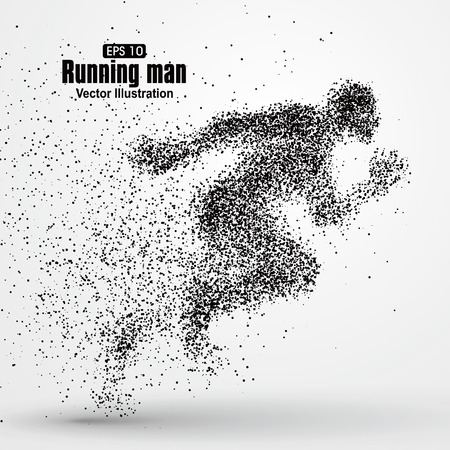 exceed: Running Man, particle divergent composition, vector illustration.