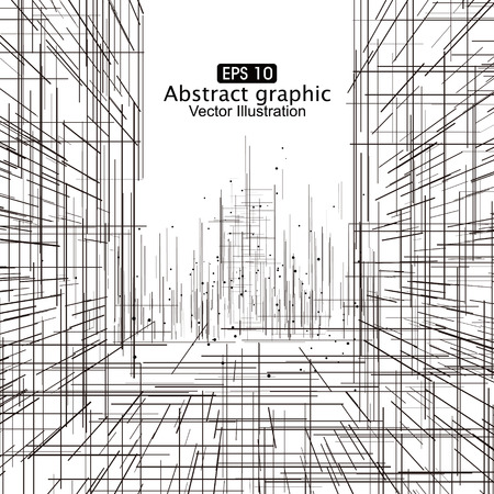 line art: Dot and line composition abstract graphics.