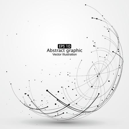 Point et courbe construit le sens technologique illustration abstraite. Vecteurs