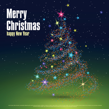 dispersion: Christmas tree composed of particles can be used as the cover of a Christmas greeting card. Illustration