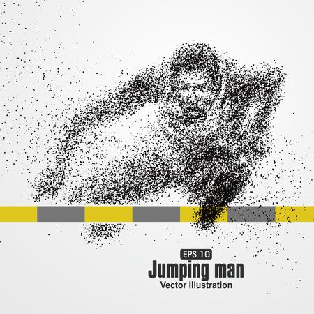 Jumping Man, deeltje uiteenlopende samenstelling, vector illustratie. Stock Illustratie