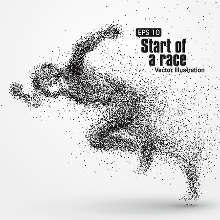 hurdle: Running Man, particle divergent composition, vector illustration.