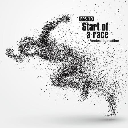Running Man, Partikel divergent Zusammensetzung, Vektor-Illustration. Vektorgrafik