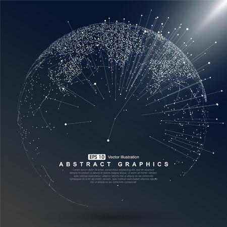 Punkt Mapa świata zbudowane globalnego połączenia sieciowego Ilustracje wektorowe