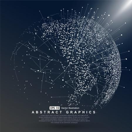 Mapa světa bod konstruovány globální připojení k síti