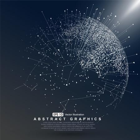 esfera: punto de mapa del mundo construido conexión de red global