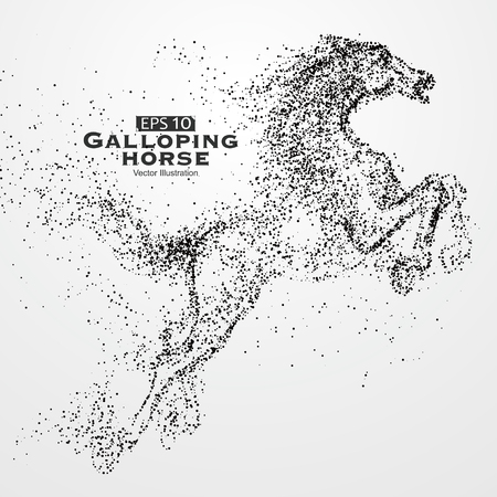 Galloping horse,particles, illustration.