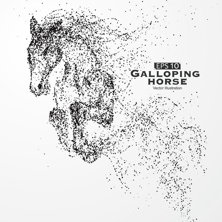 Galloping horse,particles,vector illustration. Stok Fotoğraf - 53101663