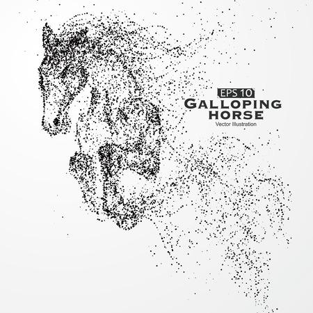 Galoppierendes Pferd, Partikel, Vektor-Illustration.