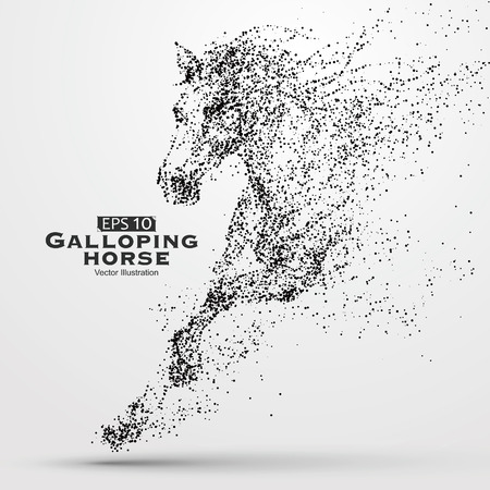 caballo negro: Caballo galopante, part�culas, ilustraci�n vectorial.