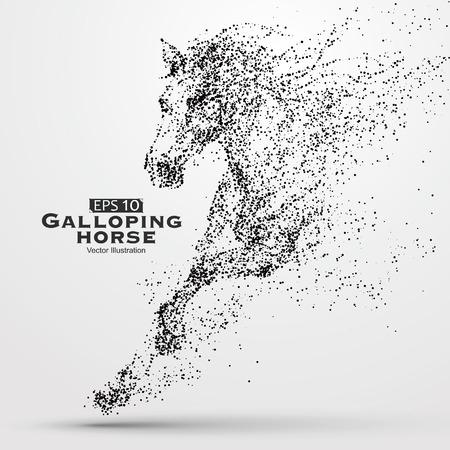 Cválajícím koni, částice, vektorové ilustrace.