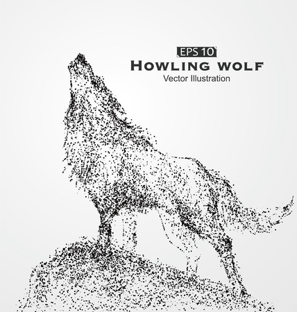 black and white wolf: Howling wolf, particles, vector illustration. Illustration
