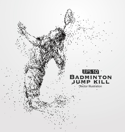 athletes: Smash badminton players,Vector graphics composed of particles. Illustration