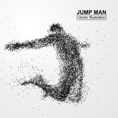 one people: Jump man,Vector graphics composed of particles.
