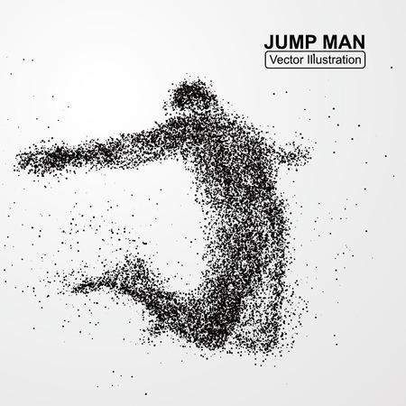 schwarz: Jump Mann, Vektorgrafiken aus Teilchen zusammengesetzt.