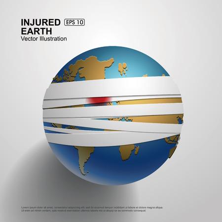 convalesce: Bandaged Earth,Vector Illustration.