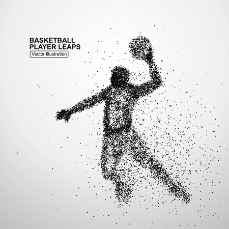 sport background: Basketball player leaps