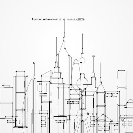Resumen de circuito urbano Ilustración de vector