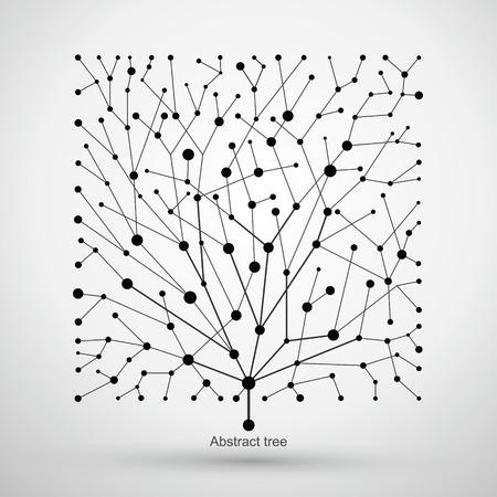 De puntos y líneas de árboles, gráficos abstractos. Ilustración de vector