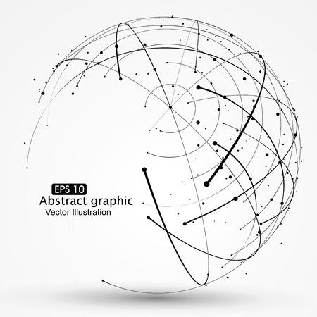 Point en curve geconstrueerd de technologische zin abstracte illustratie.