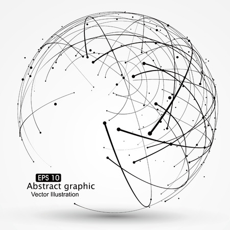wireframe globe: Point and curve constructed the technological sense abstract illustration.