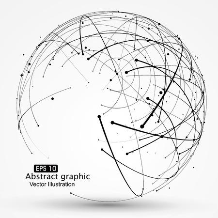 esfera: Punto y la curva construyen el sentido ilustración abstracta tecnológica.