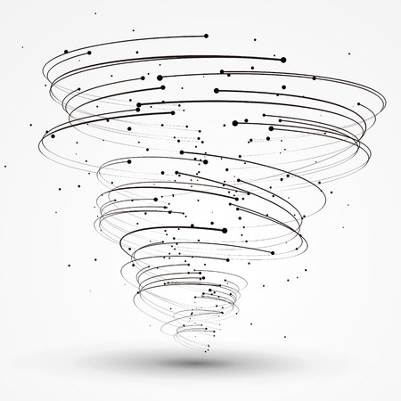 strong wind: Points and curves of spiral graphics,Vector Illustration.
