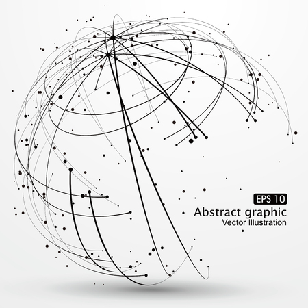 globe abstract: Point and curve constructed the technological sense abstract illustration.