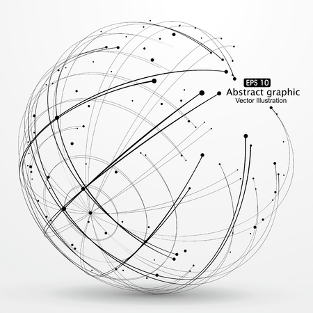 wire globe: Point and curve constructed the technological sense abstract illustration.
