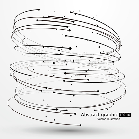 distorted: Points and curves of spiral abstract graphics. Illustration