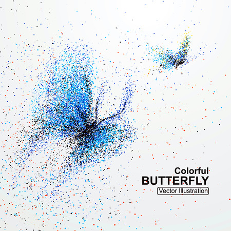 dispersion: Colorful butterfly particles, vector illustration.
