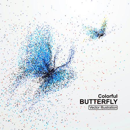 partículas de mariposas de colores, ilustración vectorial. Ilustración de vector