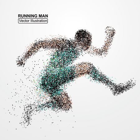 abstract circles: Running Man, particle divergent composition, vector illustration