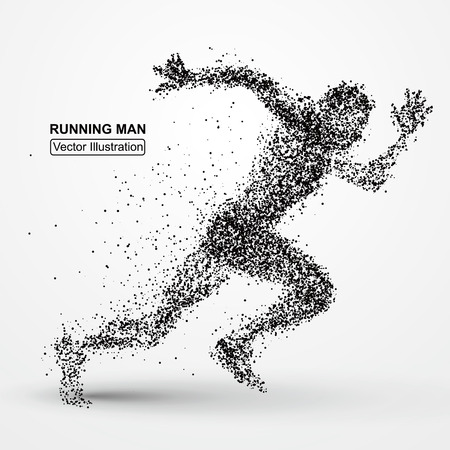 run: Running Man, particle divergent composition, vector illustration