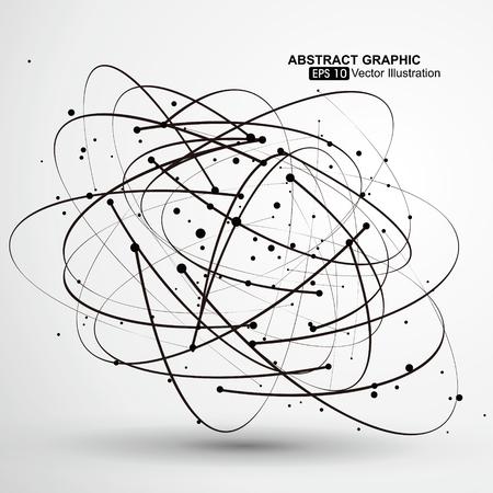 ポイントと抽象的なグラフィック、未来技術の意味から成る曲線です。