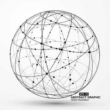 三次元球ワイヤ フレーム曲線乱雑なコンポジション、抽象的なベクトル グラフィック。  イラスト・ベクター素材