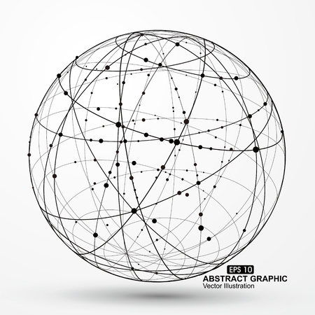 threedimensional: Three-dimensional sphere wireframe curve messy composition, abstract vector graphics.