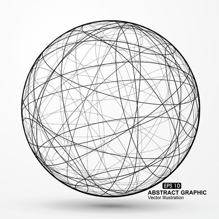 wireframe globe: Three-dimensional sphere wireframe curve messy composition, abstract vector graphics.