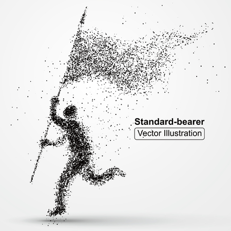 personas corriendo: abanderado imagen compuesta de partículas, composición de la ilustración del vector. Vectores