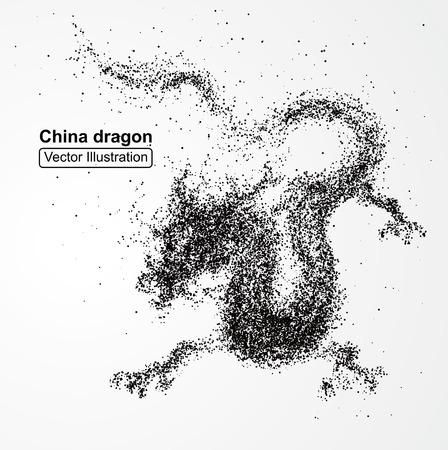 dragon chinois composé de particules, composition illustration vectorielle.