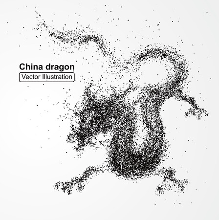 growing up: Chinese dragon composed of particles, vector illustration composition.