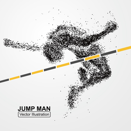 high jump: High jump man,Vector graphics composed of particles.