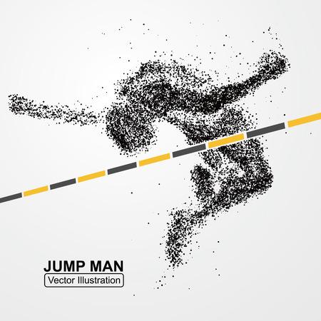 Uomo salto in alto, grafica vettoriale composto da particelle. Archivio Fotografico - 53259124