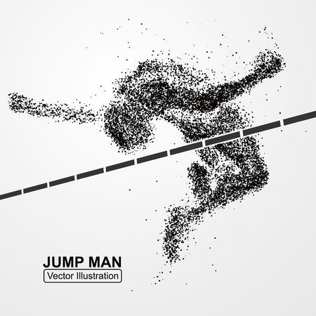 hombre de salto de altura, gráficos vectoriales compuestos de partículas.