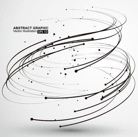 ポイントは、スパイラル抽象的なグラフィックの曲線。  イラスト・ベクター素材