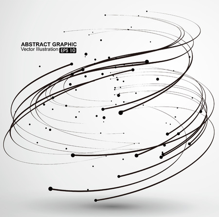 Points and curves of spiral abstract graphics. Иллюстрация