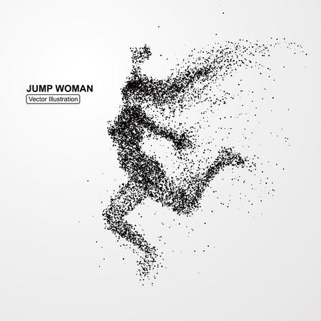Jump woman,Vector graphics composed of particles. Çizim
