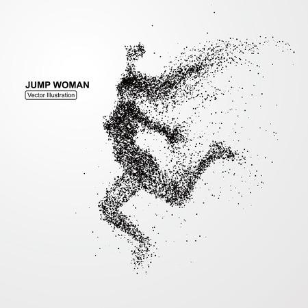 Sprong van de vrouw, vector graphics bestaat uit deeltjes. Stock Illustratie