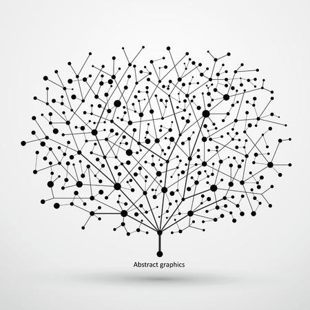 Punten en lijnen van bomen, abstracte graphics.